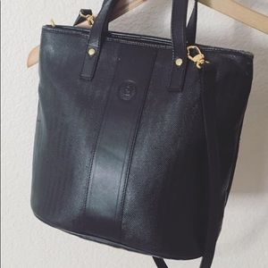 Vintage 80s Fendi Leather Shoulder Tote Bag